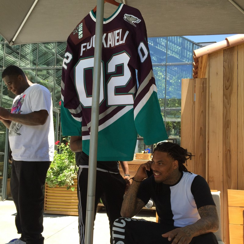Waka Flocka Flame checking out the custom jersey we made for him
