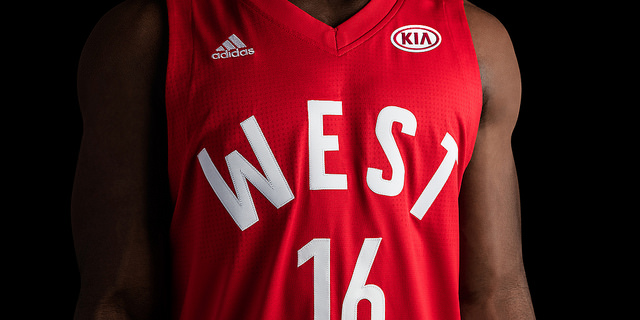 The jerseys feature a KIA AD where Jerry West used to be!