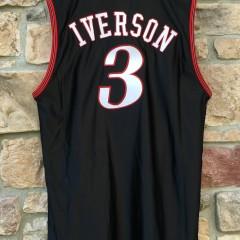 vintage 76ers Allen Iverson black jersey size 48