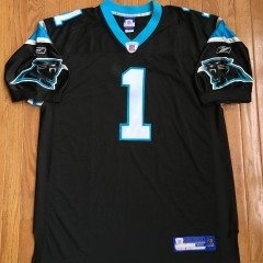 Cam Newtown Authentic Carolina Panthers Reebok rookie jersey size 52
