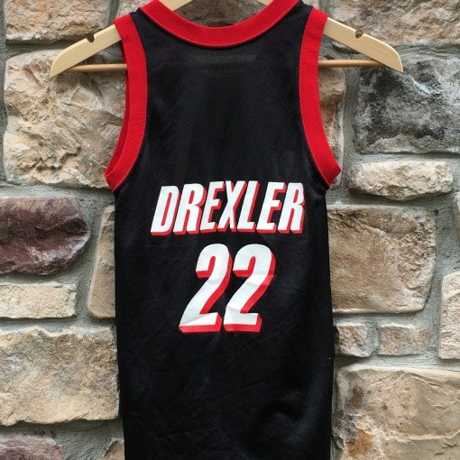 Vintage Clyde Drexler Trailblazers Champion NBA Jersey Youth Medium
