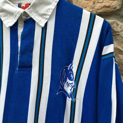 Vintage Valiant Rugby Shirt In Ultramarine Gold: 80's Duke Blue Devils NCAA Striped Polo Rugby Shirt Size