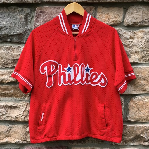 Vintage 90's Philadelphia Phillies Majestic Batting practice jersey zip up pockets