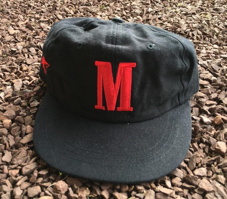 """d993a8fbd33 90 s Marlboro Cigarette Black """"M"""" Strapback Hat"""