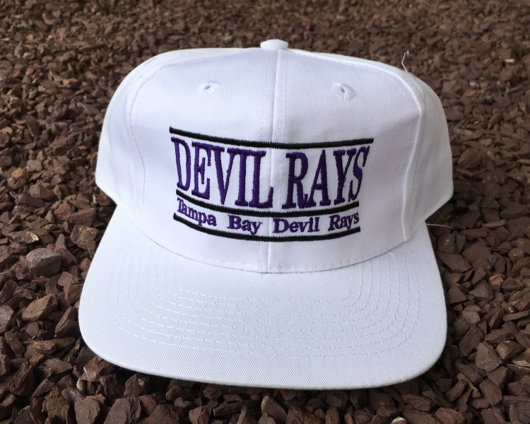 16bd2b2c1f8 90 s Tampa Bay Devil Rays The Game Split Bar White MLB Snapback Hat ...