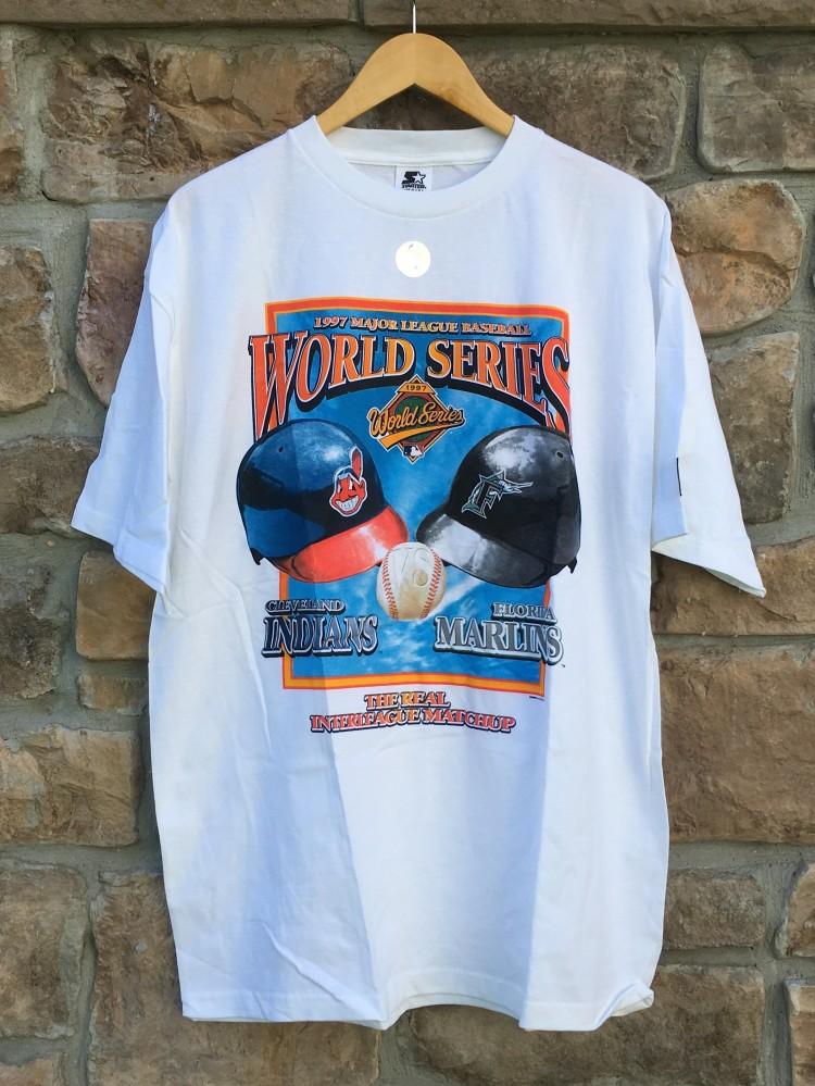 1cc593c5b3f 1997 Florida Marlins Cleveland Indians World Series Starter MLB T ...
