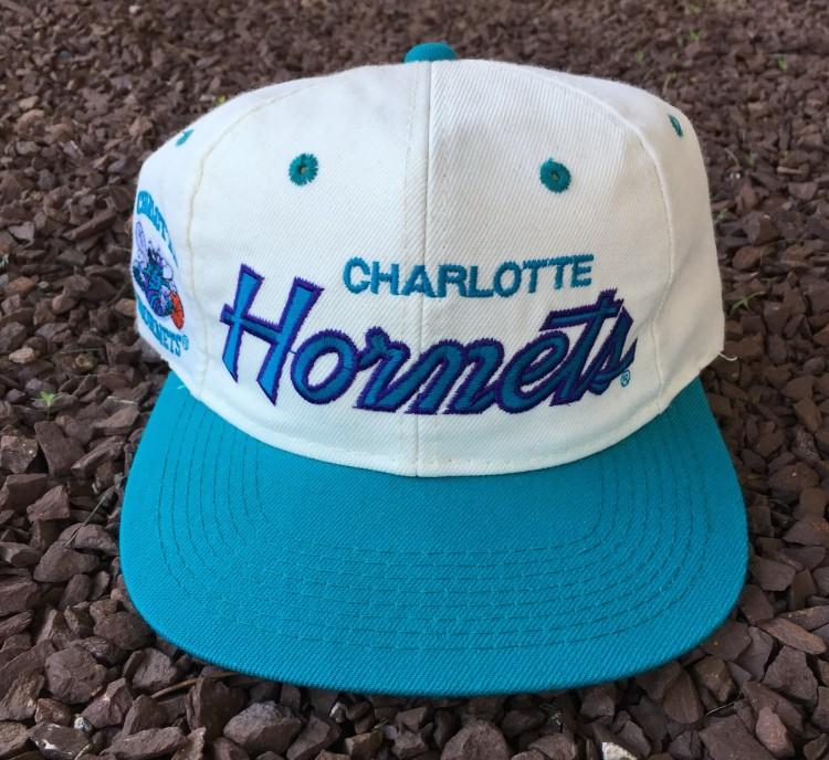 b1f7885264d0c 90 s Charlotte Hornets Sports Specialties Script NBA Snapback Hat ...