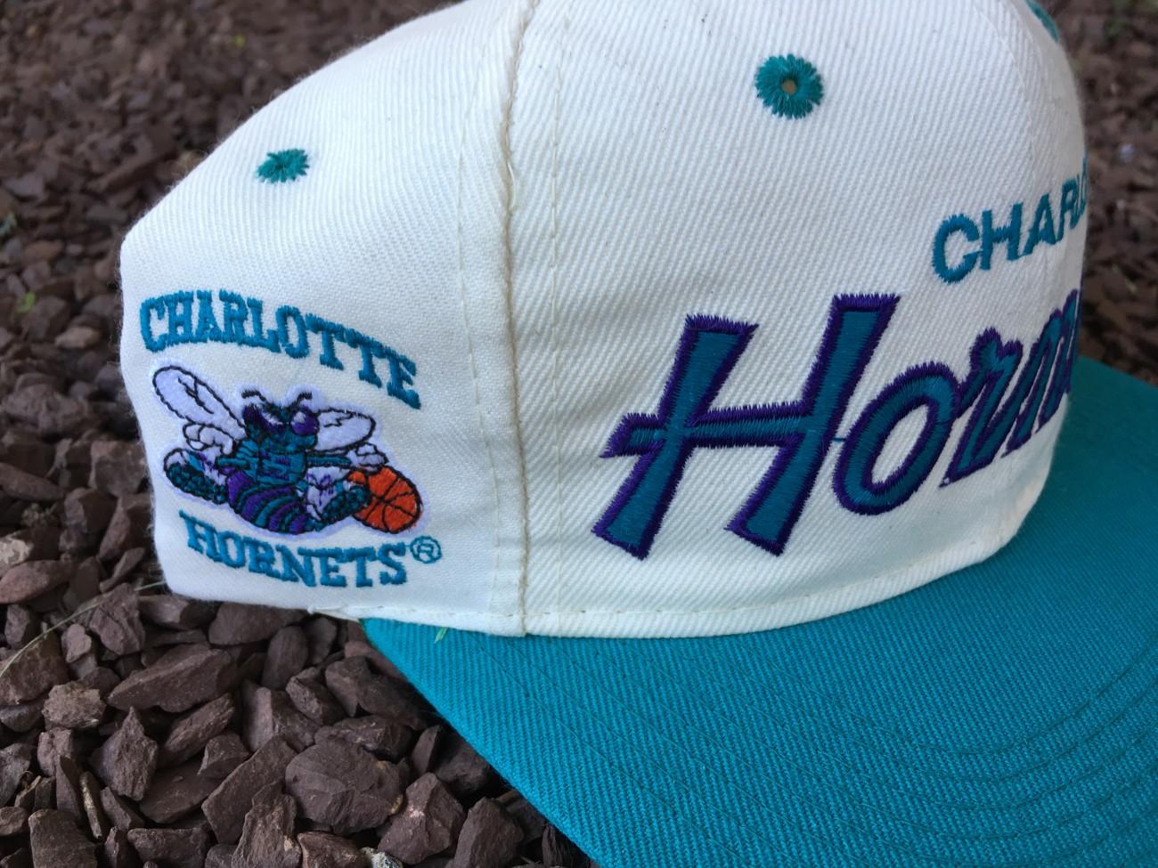 2548a8d6a74 uk vintage sports specialties script charlotte hornets snapback hat c7467  8501a
