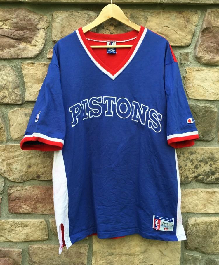 90 S Detroit Pistons Authentic Champion Nba Shooting Shirt