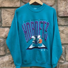 Vintage early 90's Charlotte Hornets NBA Crewneck aqua
