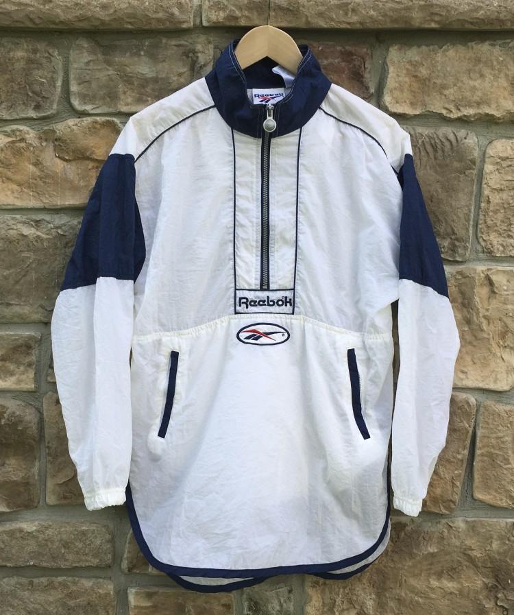 174a90dc4e2cbc 90 s Reebok White Windbreaker Jacket Size Small