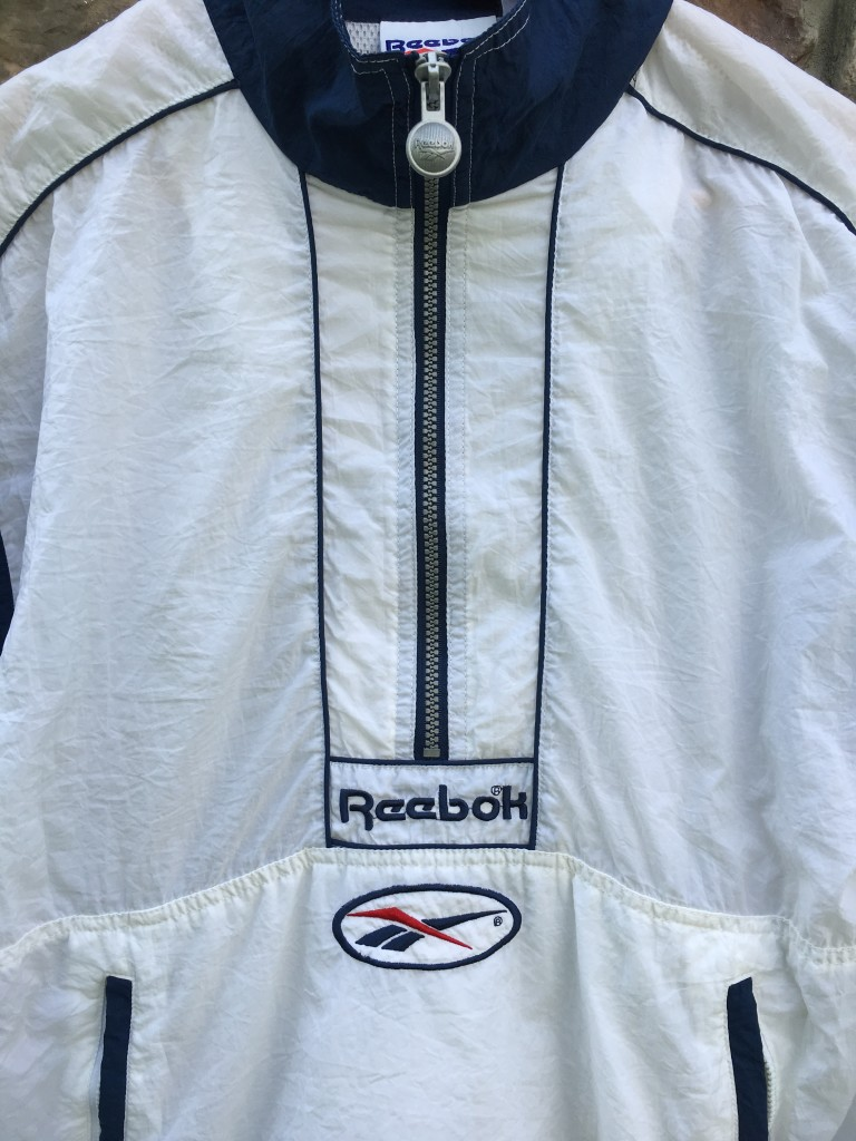 447912da584b0 90's Reebok White Windbreaker Jacket Size Small