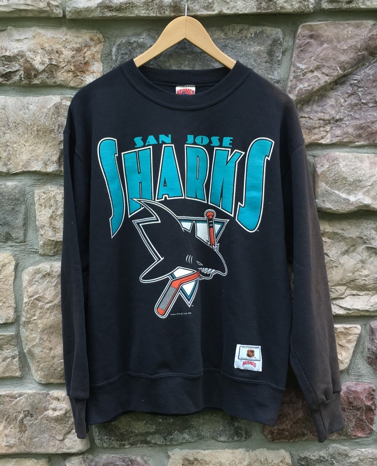 size 40 7c9f6 bdc71 90's San Jose Sharks Nutmeg NHL Crewneck Sweatshirt Hoody Size Large