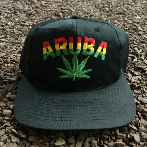 Vintage Aruba weed leaf snapback hat