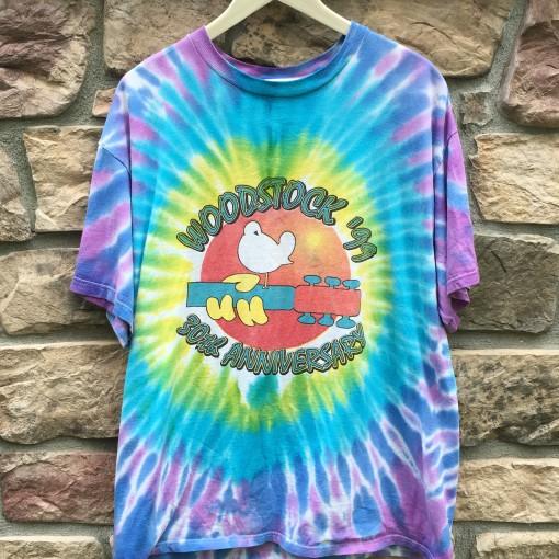 Vintage woodstock 1999 concert lineup tie dye t shirt