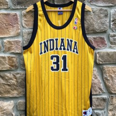 vintage yellow indiana pacers reggie miller champion nba jersey size 48