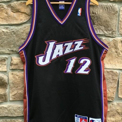 John Stockton Authentic Utah Jazz black alternate champion jersey size 48