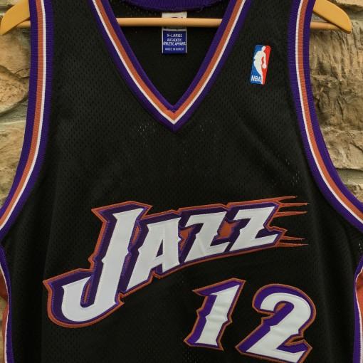 black authentic John Stockton Utah Jazz jersey