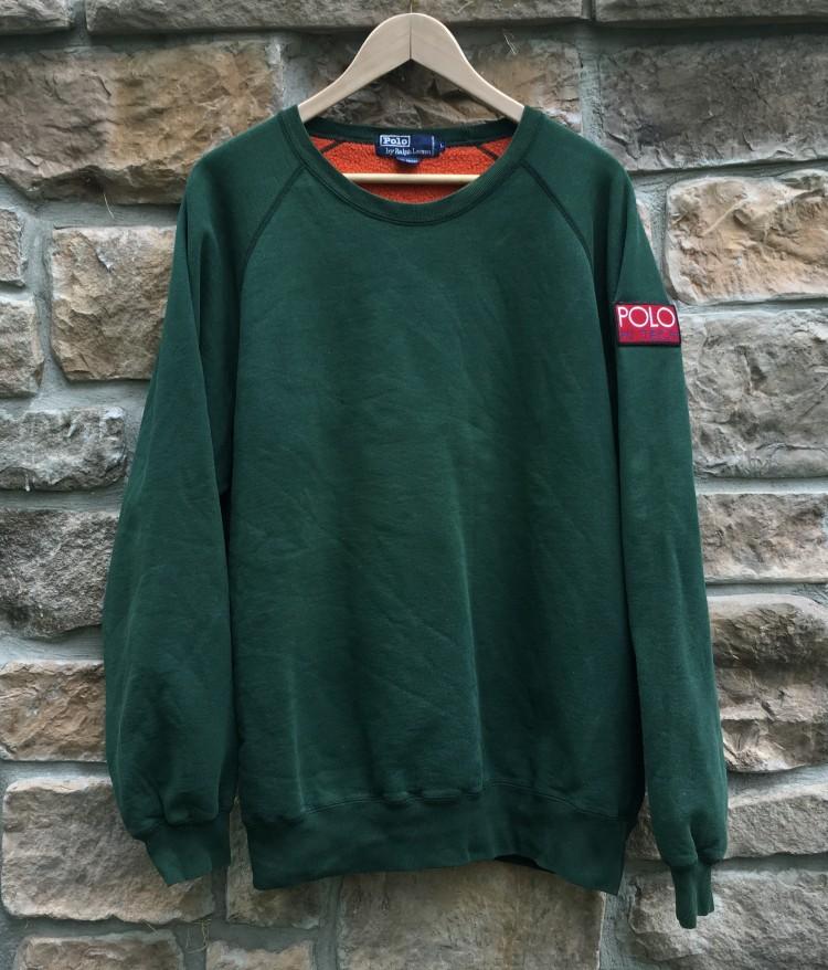 82bbf792 90's Polo Ralph Lauren Hi Tech Green Crewneck Sweatshirt Size Large ...