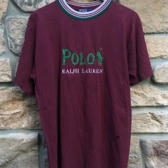 vintage polo ralph Lauren embroidered 90's maroon t shirt