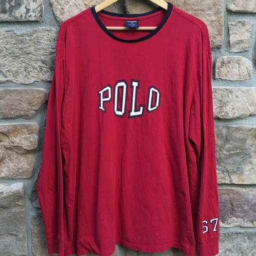 vintage 90's Polo Sport Spell out long sleeve t shirt red xl