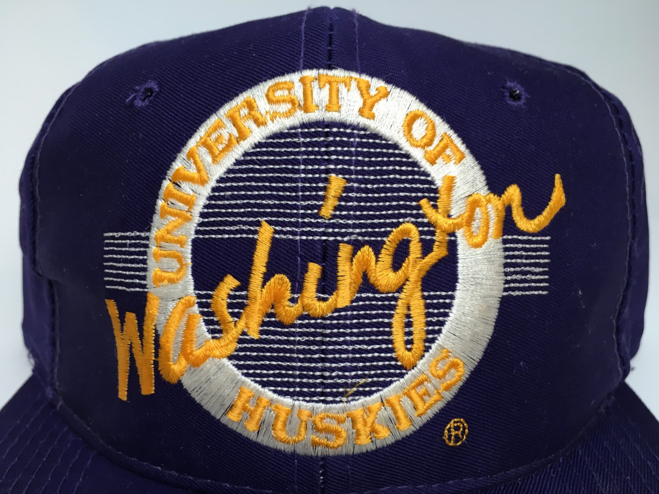 a7a86ba05d3 90 s Washington Huskies The Game Circle NCAA Snapback Hat