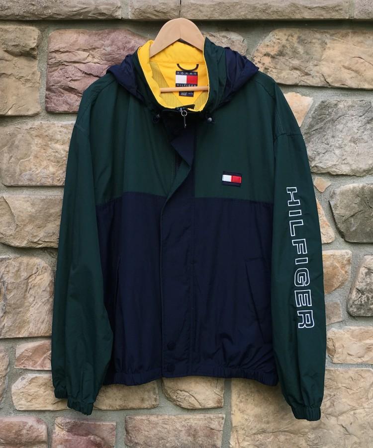 90 S Tommy Hilfiger Color Block Jacket Green Navy Size Xxl Rare Vntg