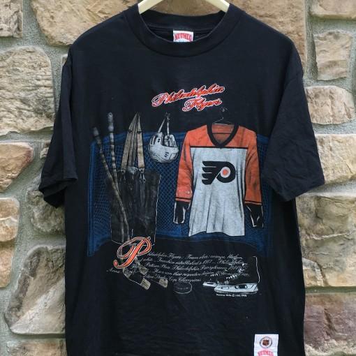 vintage 1991 Philadelphia Flyers Nutmeg Locker room NHL t shirt