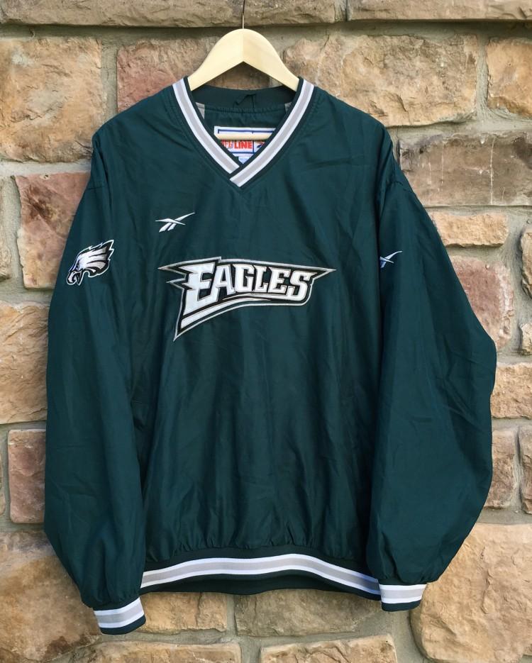 aa7cbf1a 90's Philadelphia Eagles Reebok Pro Line Pullover NFL Jacket Size Large