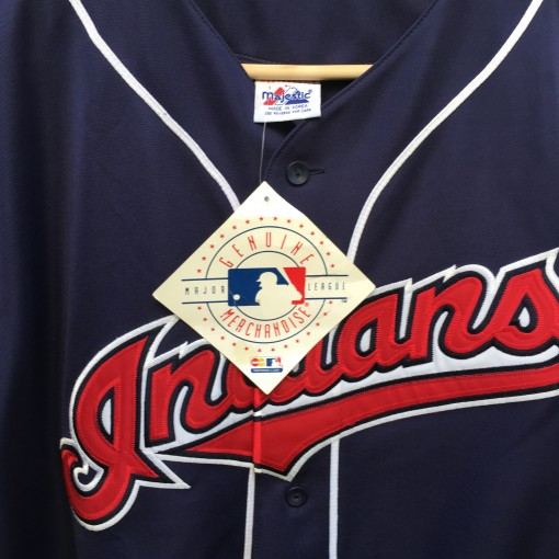 deadstock 90's Cleveland Indians navy blue alternate jersey