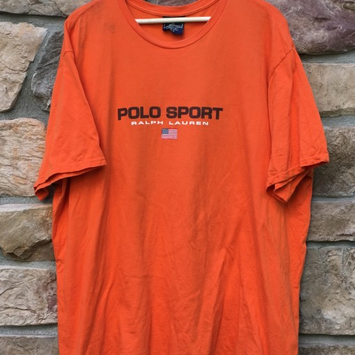Vintage 90's Polo Sport orange classic spell out logo shirt size XXL