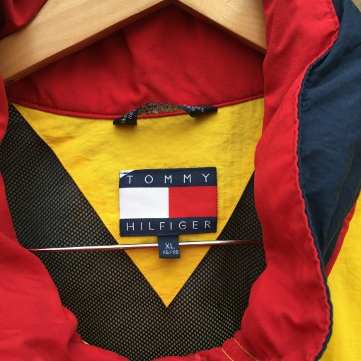 90's Tommy Hilfiger vintage yellow windbreaker jacket size XL