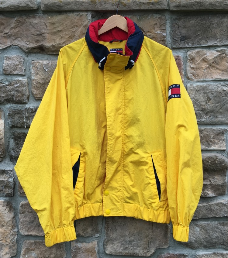 7c93f9105 90's Tommy Hilfiger Flag Patch Jacket Yellow/Navy Size XL | Rare Vntg