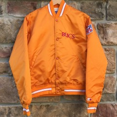 vintage 80s tampa bay buccaneers orange starter satin bomber nfl jacket size medium