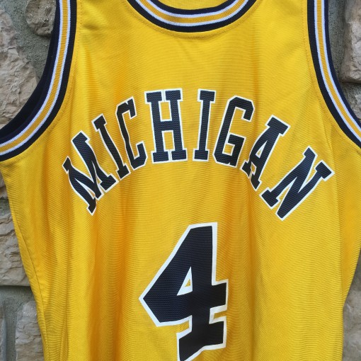 vintage 90's Yellow Michigan Wolverines Chris webber fab 5 jersey