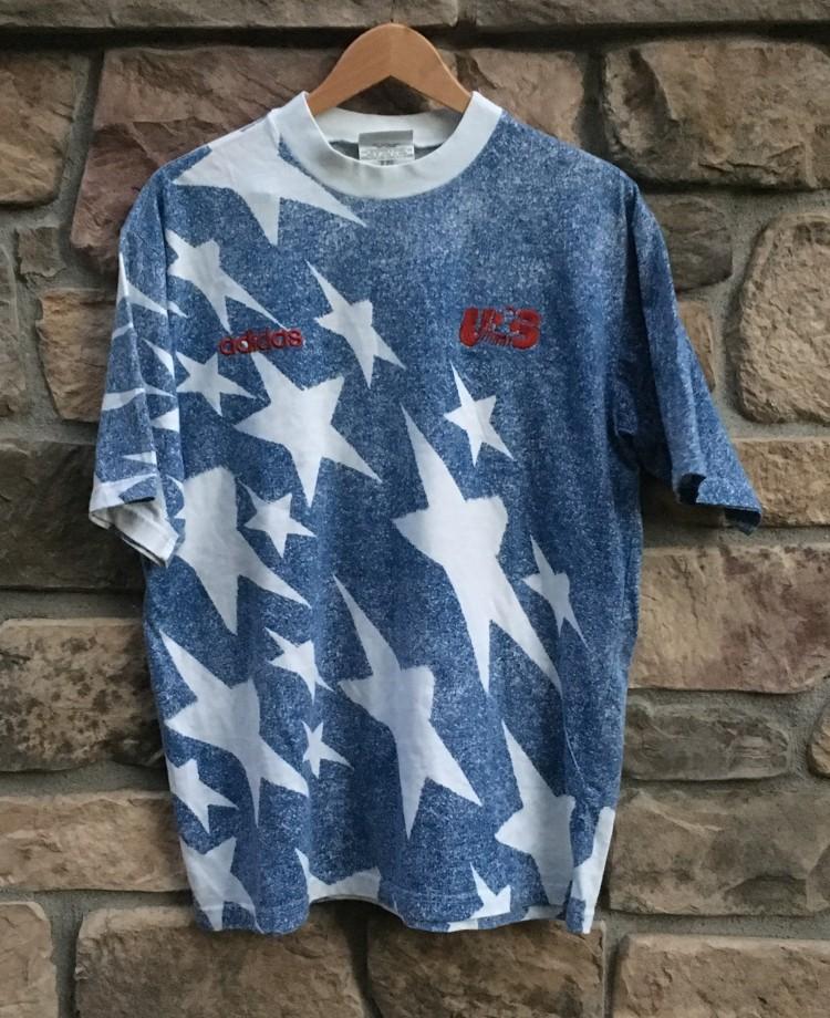 385e02f75fe 1994 Team USA Soccer Faux Denim soccer t shirt adidas. vintage denim  shooting stars usa soccer 1994 world cup ...