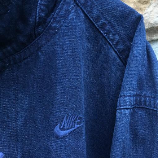 90's Nike Challenge Court acid wash navy denim bomber jacket