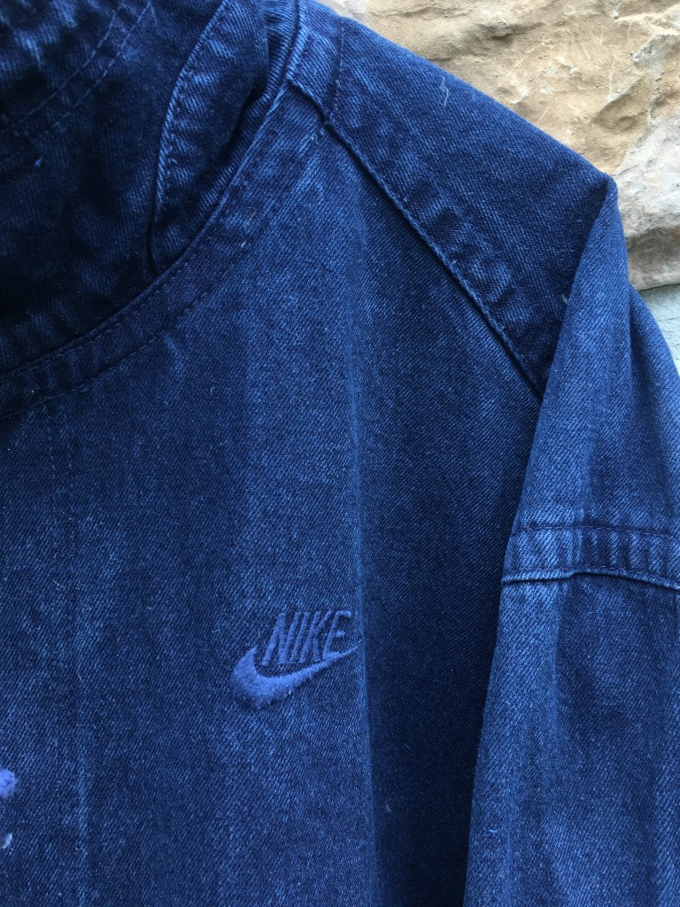 info for 01719 2d7a4 90 s Nike Challenge Court acid wash navy denim bomber jacket