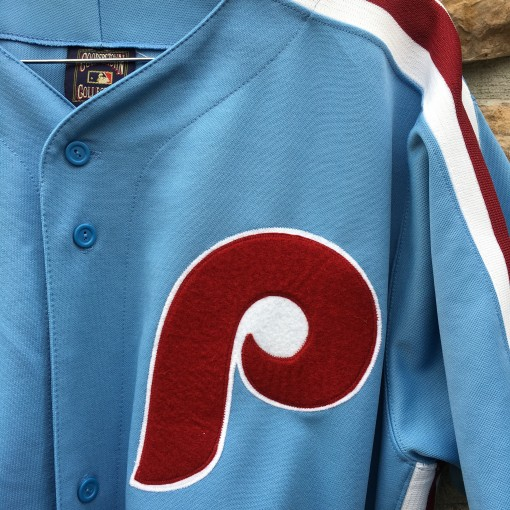 vintage powder blue phillies jersey size xl