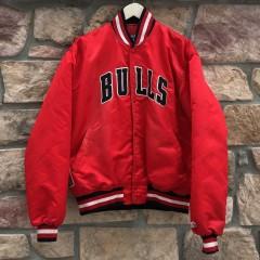 vintage 80's 90's Chicago Bulls Starter Satin bomber varsity jacket size large
