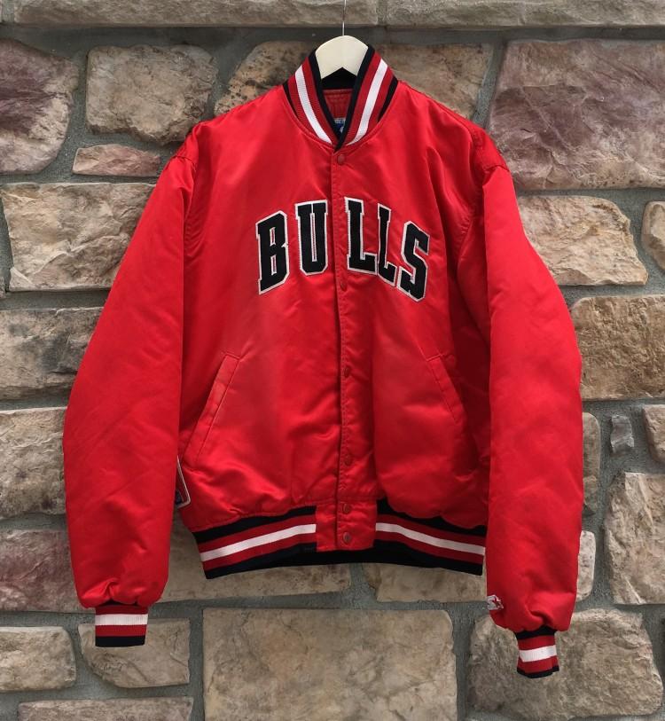 0328ac2ae082 vintage 80 s 90 s Chicago Bulls Starter Satin bomber varsity jacket size  large