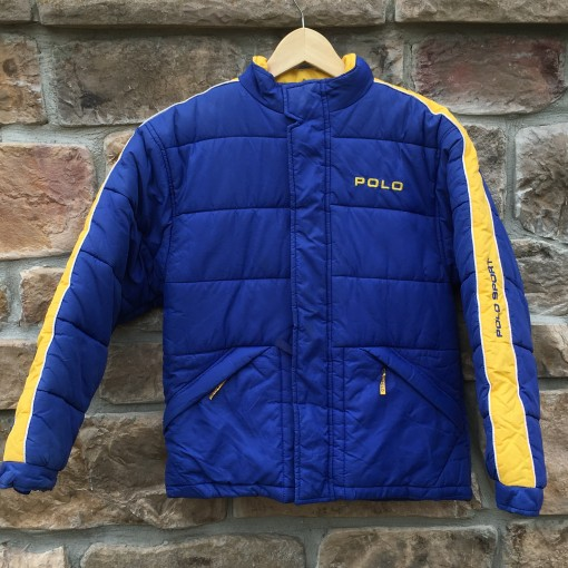 vintage 90's Polo Sport blue yellow puffy jacket size small
