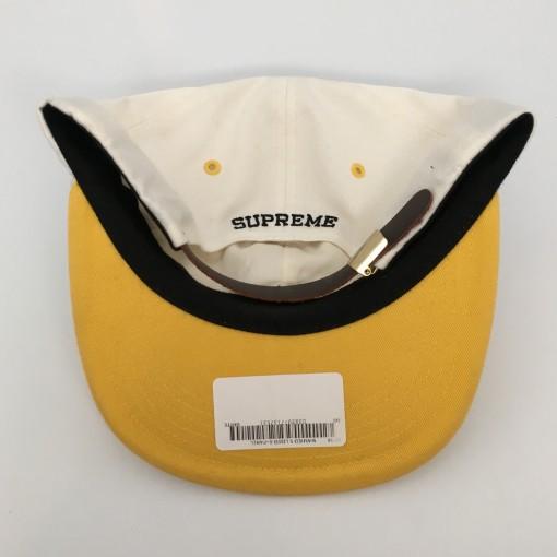authentic supreme white yellow s logo 6 panel hat