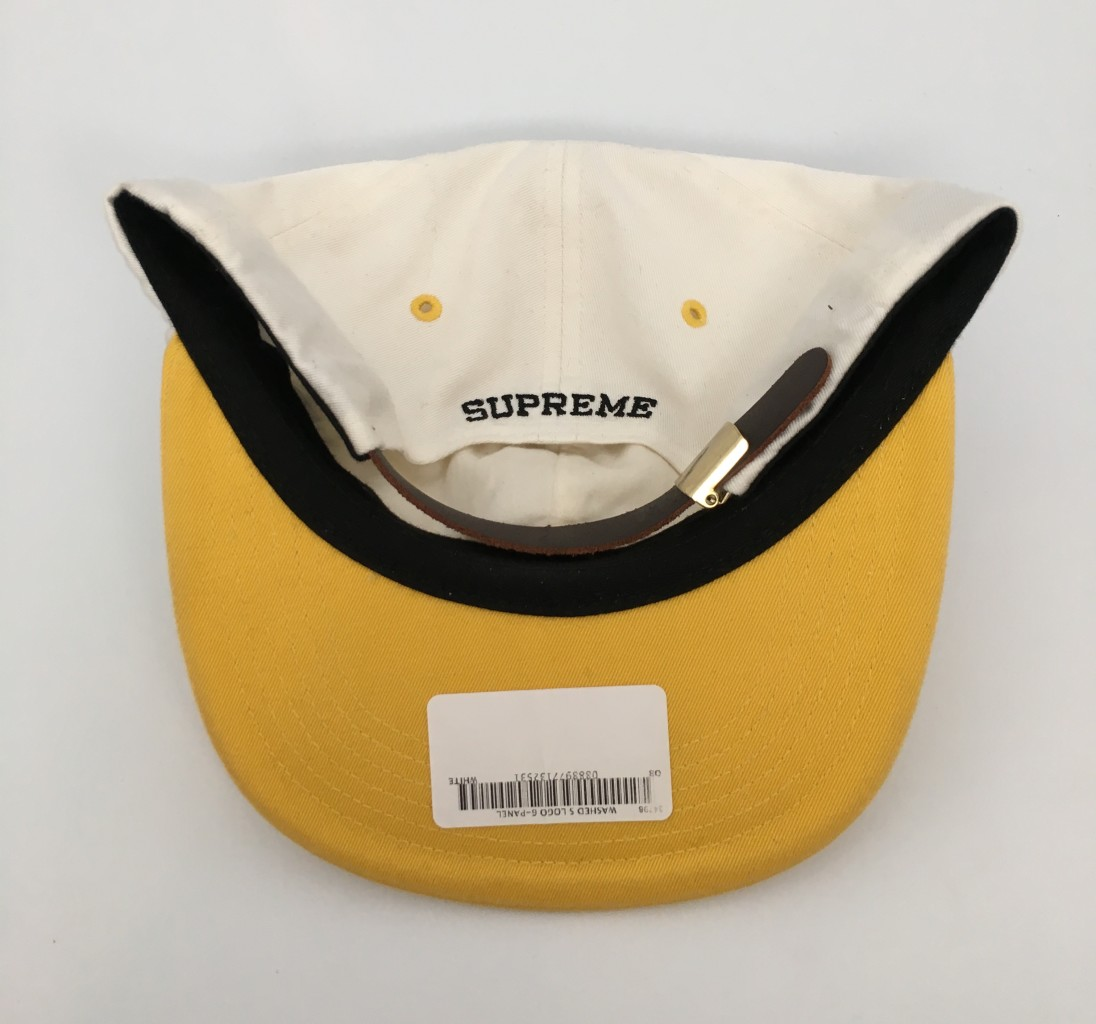 c47bc5ca810 2016 Supreme S Logo Washed 6 Panel Hat White Yellow