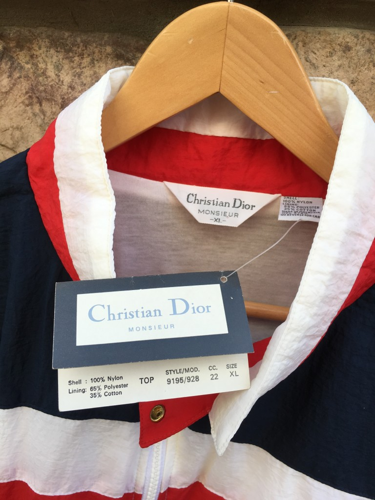 757c65000424 80 s Christian Dior Red White Blue Windbreaker Jacket Size XL