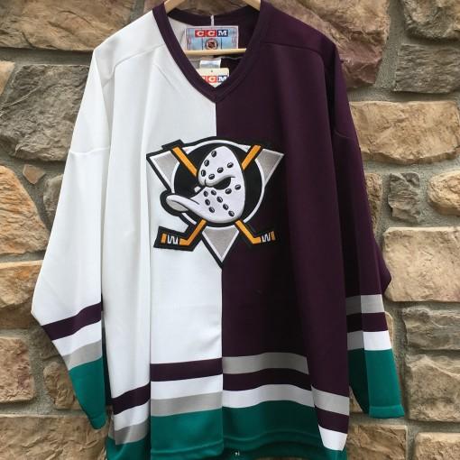 vintage 90's Anaheim mighty ducks half and half split ccm jersey size XL