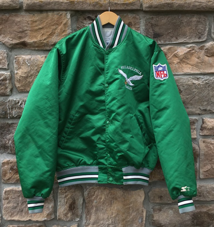 013a28912 90's Philadelphia Eagles Starter Satin NFL Jacket Size Large