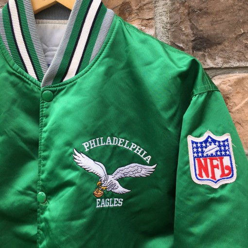 vintage kelly green satin philadelphia eagles starter jacket