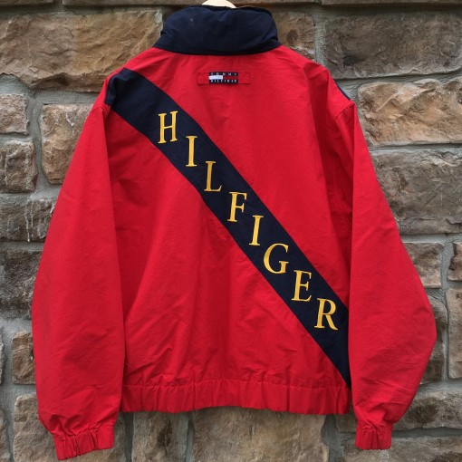vintage 90's Tommy Hilfiger colorblock spell out back patch jacket