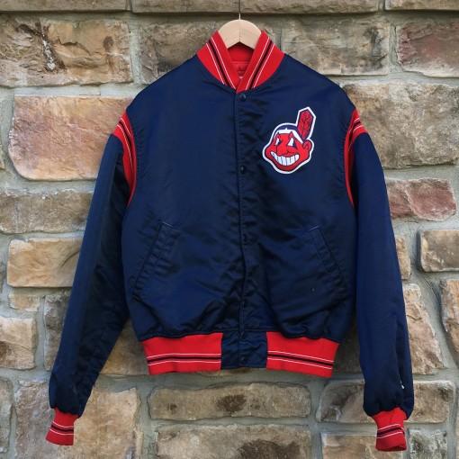 vintage 90's cleveland indians starter satin bomber mlb jacket size large